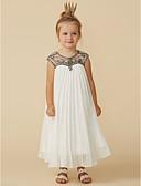 cheap Flower Girl Dresses-Sheath / Column Tea Length Flower Girl Dress - Chiffon Short Sleeve Jewel Neck with Beading by LAN TING BRIDE®