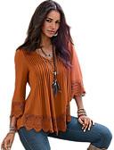 abordables Camisas y Camisetas para Mujer-Mujer Blusa, Escote en V Profunda Un Color