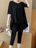 povoljno Ženski dvodijelni kostimi-Žene Veći konfekcijski brojevi Pamuk Vintage Majica s rukavima / Set - Jednobojni, Rese Hlače