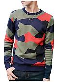abordables Chaquetas y Abrigos de Hombre-Hombre Diario Un Color Manga Larga Regular Pullover, Escote Redondo Azul Piscina / Verde Ejército XL / XXL / XXXL