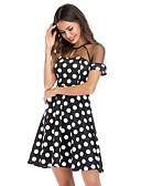 זול שמלות מודפסות-בגדי ריקוד נשים בסיסי מידות גדולות כותנה מכנסיים - מנוקד שחור ולבן, פרנזים שחור / שרוול נפוח