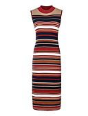 abordables Chemises pour Femme-Femme Basique Au dessus du genou Mince Trapèze Robe Arc-en-ciel Taille unique Sans Manches