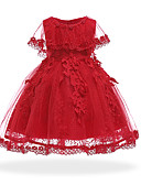 Χαμηλού Κόστους Βρεφικά φορέματα-Μωρό Κοριτσίστικα Βίντατζ Εξόδου / Γενέθλια Μονόχρωμο Μακρυμάνικο Ως το Γόνατο / Ασύμμετρο Βαμβάκι / Πολυεστέρας Φόρεμα Ανθισμένο Ροζ