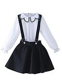 Недорогие Платья-Дети Девочки Классический Однотонный Длинный рукав Полиэстер Набор одежды Синий