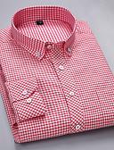 preiswerte Herrenhemden-Herrn Solide - Geschäftlich / Grundlegend Arbeit Übergrössen Baumwolle Hemd, Umlegekragen Schlank Weiß 41 / Langarm