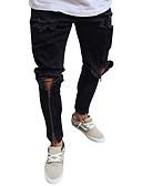 رخيصةأون تيشيرتات وتانك توب رجالي-بنطلون رجالي قطن جينزات لون سادة أناقة الشارع / بانغك & قوطي فتحة / نادي