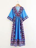 povoljno Ženske haljine-Žene Osnovni Puff rukav Bodycon Haljina - Rese, Jednobojni / Geometrijski oblici Iznad koljena Blue & White