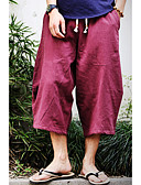 ieftine Pantaloni Bărbați si Pantaloni Scurți-Bărbați Bumbac / In Larg Pantaloni Chinos / Pantaloni Scurți Pantaloni Mată