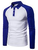 preiswerte Herren Polo Shirts-Herrn Einfarbig - Grundlegend Polo, Hemdkragen Patchwork Schwarz & Weiß Schwarz L / Langarm