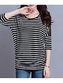 ieftine Tricou-Pentru femei Tricou De Bază - Dungi Broderie