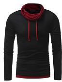 hesapli Erkek Kapşonluları ve Svetşörtleri-Erkek Yuvarlak Yaka Tişört Solid Siyah / Uzun Kollu