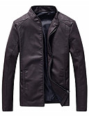 cheap Men's Jackets & Coats-Men's Plus Size Leather Jacket - Contemporary Stand / Long Sleeve