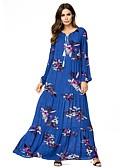 povoljno Ženske haljine-Žene Osnovni Širok kroj Hlače - Geometrijski oblici Print Plava / Maxi / Puff rukav