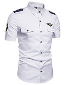 cheap Men's Shirts-Men's Street chic Shirt - Solid Colored Embroidered