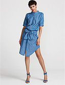 זול הלבשה תחתונה אופנתית-בגדי ריקוד נשים סגנון רחוב רזה מכנסיים - אחיד כחול בהיר / צווארון עגול קצר / א-סימטרי