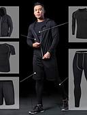 billige Modebælter-Herre Yoga Suit - Sort, Grå, Ru Sort Sport Jakke / Kompressionstøj / Leggins Løb, Fitness, Træningscenter Sportstøj Hurtigtørrende, Åndbarhed Høj Elasticitet