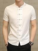 billige Herreskjorter-Stående krave Herre - Ensfarvet Bomuld / Hør Kineseri Plusstørrelser Skjorte Sort US36 / Kortærmet