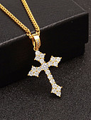 cheap Men's Belt-Men's Cubic Zirconia Stylish Cuban Link Pendant Necklace / Chain Necklace - Cross, Faith European, Trendy, Hip-Hop Cool Gold, Silver 60 cm Necklace Jewelry 1pc For Gift, Street