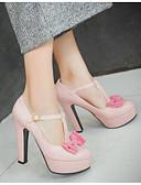 preiswerte Damen Socken & Strumpfwaren-Damen Schuhe PU Frühling / Herbst Komfort / Pumps High Heels Blockabsatz Schwarz / Beige / Rosa