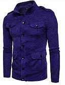 tanie Męskie koszule-Męskie Stójka Szczupła Rozpinany - Niejednolita całość, Jendolity kolor Długi rękaw