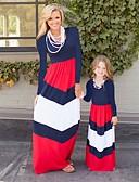 povoljno Obiteljski komplet odjeće-Djeca / Dijete koje je tek prohodalo Mama i mene Osnovni / slatko Izlasci Cvjetni print / Color block Kolaž Dugih rukava Maxi Maxi Kombinezon