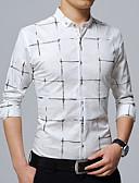 billige Herreskjorter-Skjorte Herre - Geometrisk, Trykt mønster Forretning / Grunnleggende Arbeid / Langermet