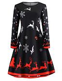 hesapli Vintage Kraliçesi-Kadın's Tatil Dışarı Çıkma Vintage Zarif Pamuklu İnce Çan Elbise - Hayvan Kar Tanesi, Desen Diz üstü