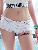 billige Tights til damer-Dame Aktiv / Militær Store størrelser Ut på byen Klubb Jeans / Shorts Bukser - Ensfarget / Bokstaver Rynket Lav Midje Svart Hvit S M L / Sexy