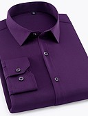cheap Men's Shirts-Men's Work Business / Basic Shirt - Solid Colored / Geometric Print / Long Sleeve