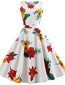 baratos Vestidos Vintage-Mulheres Vintage Algodão Delgado Calças - Floral Estampado Branco / Para Noite