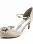 billige Kjoler til brudens mor-Dame Sko Blonder Vår sommer Basispumps bryllup sko Stiletthæl Spisstå Rhinsten / Gummi Sølv / Lysebrun / Krystall / Bryllup / Fest / aften