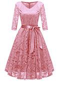 זול שמלות ערב-ורד מאובק צווארון V עד הברך תחרה פפיון שמלה גזרת A וינטאג' שנות ה-50 Party ליציאה בגדי ריקוד נשים