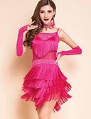 preiswerte Kleidung für Lateinamerikanischen Tanz-Ballett Austattungen Damen Training / Leistung Modal Spitze / Quaste Ärmellos Normal Kleid / Ärmel / Halsketten
