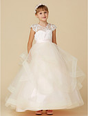 cheap Junior Bridesmaid Dresses-Ball Gown Floor Length Flower Girl Dress - Lace / Tulle Short Sleeve Illusion Neck with Buttons / Sash / Ribbon by LAN TING BRIDE®