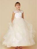 Χαμηλού Κόστους Λουλουδάτα φορέματα για κορίτσια-Βραδινή τουαλέτα Μακρύ Φόρεμα για Κοριτσάκι Λουλουδιών - Δαντέλα / Τούλι Κοντομάνικο Illusion Seckline με Κουμπί / Ζώνη / Κορδέλα με LAN TING BRIDE®