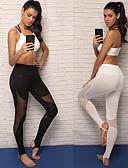 preiswerte Damen Schlafanzüge-Damen Über die Ferse Yoga-Hose / Mesh-Leggings - Weiß, Schwarz Sport Elasthan Strumpfhosen / Lange Radhose Laufen, Fitness Sportkleidung Atmungsaktivität Dehnbar