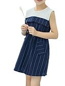 ieftine Seturi Îmbrăcăminte Fete-Copii Fete Dulce Dungi Fără manșon Rochie Bleumarin 140