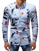 hesapli Erkek Gömlekleri-Erkek Pamuklu İnce - Gömlek Desen, Çiçekli / Zıt Renkli Temel Gökküşağı / Uzun Kollu