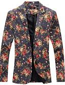 hesapli Erkek Blazerları ve Takım Elbiseleri-Erkek Günlük / Dışarı Çıkma İlkbahar & Kış Normal Blazer, Ağaçlar / Yapraklar / Zıt Renkli / Çiçek Desenli Aşağı Dönük Uzun Kollu Suni İpek / Polyester Kırk Yama / Desen Beyaz / Siyah / Gri L / XL