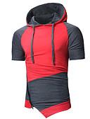 ieftine Maieu & Tricouri Bărbați-Bărbați Capișon - Mărime Plus Size Tricou De Bază / Șic Stradă - Bloc Culoare Peteci / Manșon Lung