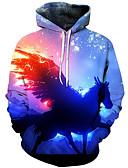 お買い得  メンズフーディー&スウェットシャツ-男性用 活発的 / 誇張された プラスサイズ ルーズ パンツ - 3D / カートゥン プリント ブルー / フード付き / 長袖 / 秋 / 冬