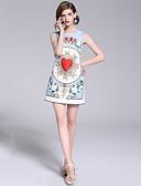 povoljno Ženske haljine-Žene Ulični šik A kroj Haljina - Perlice, Cvjetni print Iznad koljena