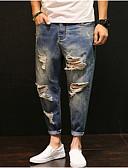 povoljno Muške duge i kratke hlače-Muškarci Ulični šik Traperice Hlače Jednobojni