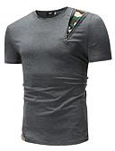 billige T-shirts og undertrøjer til herrer-Rund hals Tynd Herre - Geometrisk Bomuld, Patchwork Basale T-shirt Sort L / Kortærmet