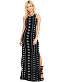 povoljno Maxi haljine-Žene Osnovni Puff rukav Shift Haljina - Rese, Jednobojni Do koljena Crno-crvena