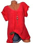 hesapli Gömlek-Kadın's Salaş - Gömlek Dantel, Solid Temel Doğal Pembe / Yaz