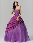 Χαμηλού Κόστους Βραδινά Φορέματα-Βραδινή τουαλέτα Στράπλες Μακρύ Ταφτάς Εμπνευσμένο από Βίντατζ Επίσημο Βραδινό Φόρεμα με Χάντρες / Πλαϊνό ντραπέ με TS Couture®