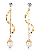 preiswerte Abendkleider-Damen Süßwasserperle Geometrisch Lang Tropfen-Ohrringe Titanstahl Ohrringe damas Modisch Schmuck Gold / Weiß Für Party Alltag 1 Paar