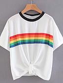 billige T-skjorter til damer-T-skjorte Dame - Regnbue, Trykt mønster Grunnleggende