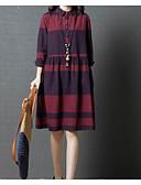 cheap Print Dresses-Women's Plus Size Daily Basic / Sophisticated Shirt Dress - Plaid / Check Spring Cotton Black Red L XL XXL